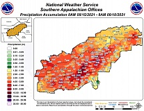 The heaviest rainfall was concentrated along the Haywood-Transylvania and Jackson-Transylvania county lines.