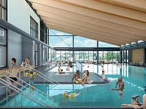 Sunlight and transparency between pool spaces are key to the pool's design. Clark Nexsen rendering