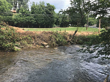 A section of Richland Creek was recently cleared of trees and brush, much to the chagrin of brewer Clark Williams. Cory Vaillancourt photo.
