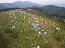 About 130 tents dot the top of Max Patch in this photo taken by Mike Wurman on Saturday, Sept. 19. Mike Wurman photo