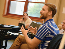 Andrew Johnson, N.C. Works career coach with Haywood Community College, shares his thoughts with the focus group July 12. Holly Kays photo