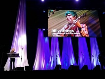 """Billy Strings winning the IBMA 'Entertainer of the Year."""" (photo: Garret K. Woodward)"""