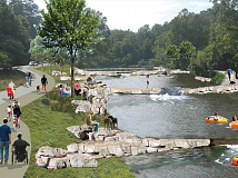 An artist's rendering imagines what a river park in Cullowhee might look like. Donated rendering