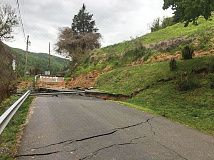 Cracks and earth movement on and around Allen Street have caused a 150-foot portion of the road to remain closed for more than a year. Donated photo