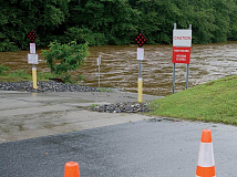 The Jackson County Greenway and boat put-in were blocked off last week due to danger from the swollen Tuckasegee River. Holly Kays photo