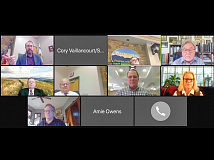 The Waynesville Board of Aldermen meet via Zoom on April 14 to hear several business items. Pictured are (top row, from left) Alderman Anthony Sutton, Mayor Gary Caldwell, Alderman Chuck Dickson, (middle row, from left) Town Attorney Bill Cannon — with a Max Patch backdrop— Town Manager Rob Hites, Dr. Peter Bates of Forest Stewards, Alderman Julia Freeman and (bottom row) Alderman Jon Feichter.Cory Vaillancourt screenshot