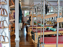 Nikki Perkovich's Pilates studio features a video link to her other studio, in Miami. Cory Vaillancourt photo