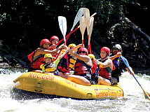 Campers navigate a rapid during a Base Camp Waynesville session. Donated photo