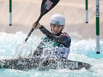 Bryson City paddler Evy Leibfarth navigates a kayak heat in Tokyo. ICF Photography photo