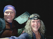 It was still pitch black during the first of Nancy East's and Chris Ford's three Mount LeConte summits on Friday, Oct. 25. Donated photo