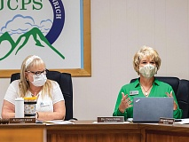 Jackson County School Board Chairwoman Alli Laird-Large (left) and Superintendent Dr. Dana Ayers during discussion of masking options for the upcoming school year.