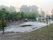 River's Edge Park in Clyde — designed to survive frequent flooding — was coated with several inches of mud the morning after the flood. Cory Vaillancourt photo