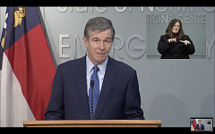 Gov. Roy Cooper delivers remarks during a Feb. 24 press conference.