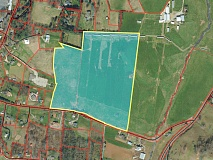 A proposed subdivision would include 115 units just north of Sunnyside Road, if approved. Haywood GIS photo