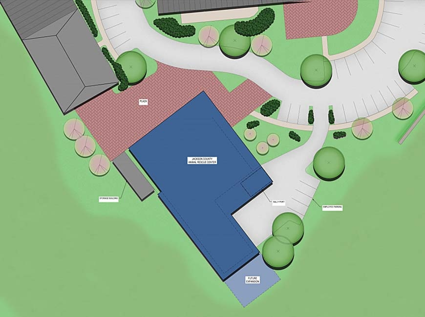 The new animal shelter (shown in blue) will replace the existing facility on Airport Road and be built on the site of the current Green Energy Park office. McMillan Pazdan Smith rendering