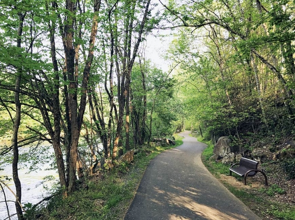 The greenway's mile of paved trail is mostly wooded, but a grassy section midway could soon turn into a series of kids' mountain biking loops. Nick Breedlove photo