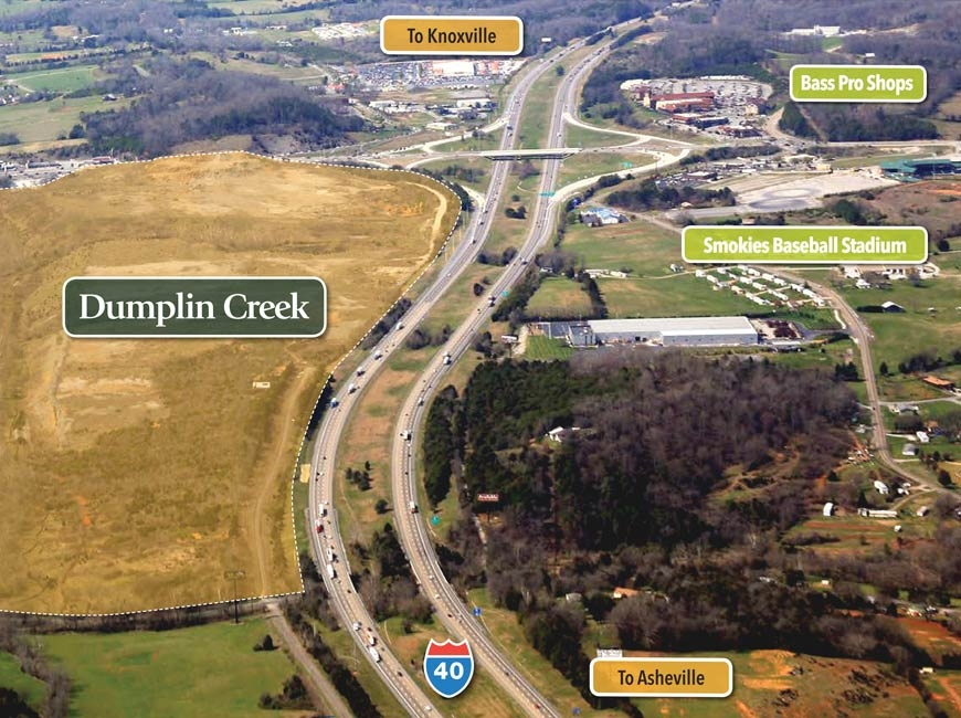 In 2019, the Eastern Band of Cherokee Indians purchased both the 198-acre Dumplin Creek property and a 122-acre tract on the other side of Interstate 40. EBCI image