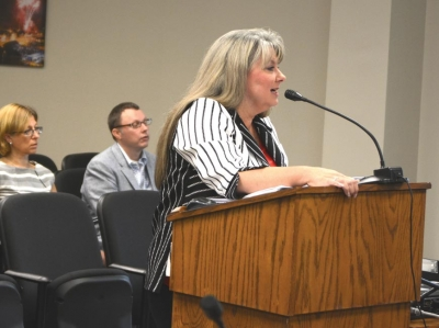 Superintendent Kim Elliott addresses the Jackson County Board of Commissioners during a previous budget process. Holly Kays photo