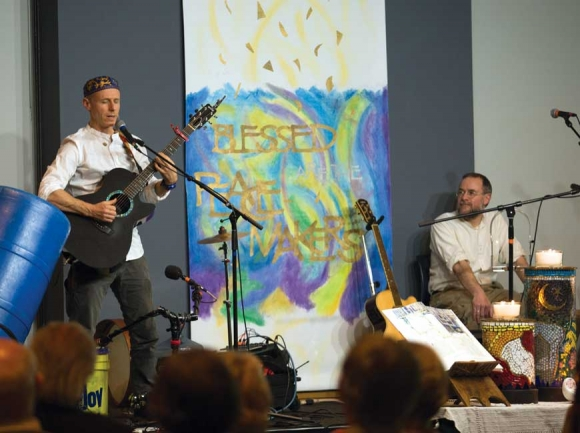 Abraham Jam (top), a group of Christian, Jewish and Muslim musicians, performs at the Interfaith Peace Conference. Part of the Interfaith Peace Conference included a field trip to the Islamic Center in Asheville to attend a service (below). Lake Junaluska photo