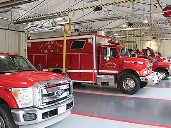 Fire trucks parked in the Cullowhee Volunteer Fire Department's new station await the call. Donated photo