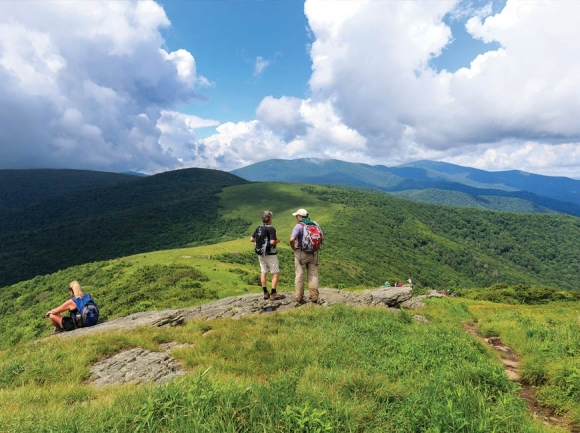 Hikers take in the view from Hump Mountain on the Appalachian Trail. Don Pugh photo