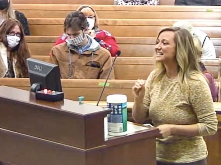 Haywood County resident Stephanie Parsons tells commissioners that mask and vaccine mandates are unconstitutional. Screenshot from meeting