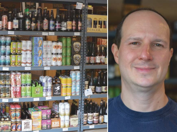 Blue Ridge Beer Hub in Waynesville has hundreds of different kinds of craft beer, wine and other artisan beverages. Right: Marlowe Mager. (photos: Garret K. Woodward)