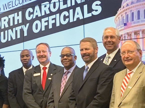 Commissioners Tommy Long (center left) and Brandon Rogers (center right) recently represented Haywood County at the National Association of Counties in Washington, D.C. Donated photo