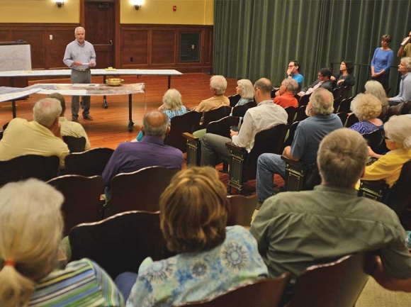 Jay Coward addresses community members at the June 26 revival of the Jackson County Smart Roads Alliance. Holly Kays photo
