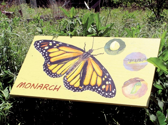 The ever-popular monarch butterfly is one of four placed along the garden's entrance path. Donated photo