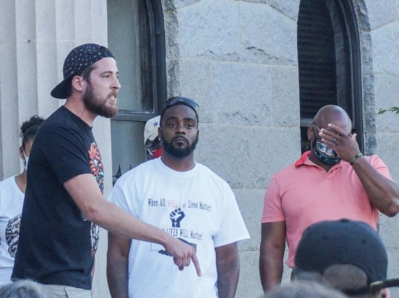 Three protest leaders (above) rally demonstrators in front of the Haywood county courthouse. Boyd Allsbrook photo