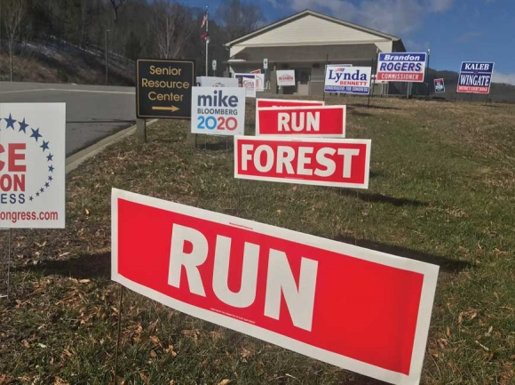 Campaign signs dot the landscape outside a Haywood County polling place Feb. 29. Cory Vaillancourt photo