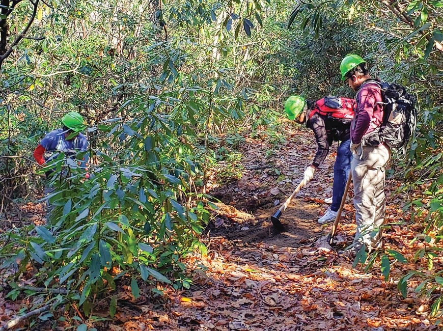 Volunteers help maintain Panthertown's 30 miles of trail. File photo