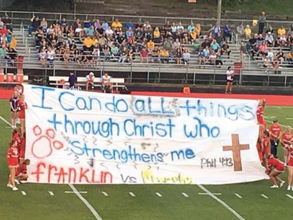 Franklin football banner incites religious debate