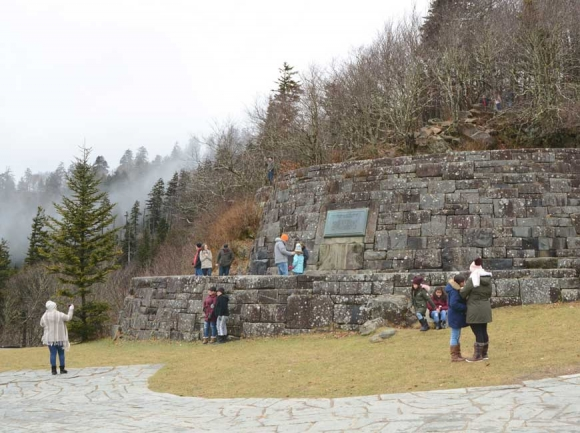 Undeterred by the shutdown, Smokies visitors stop for photos at Newfound Gap. Holly Kays photo