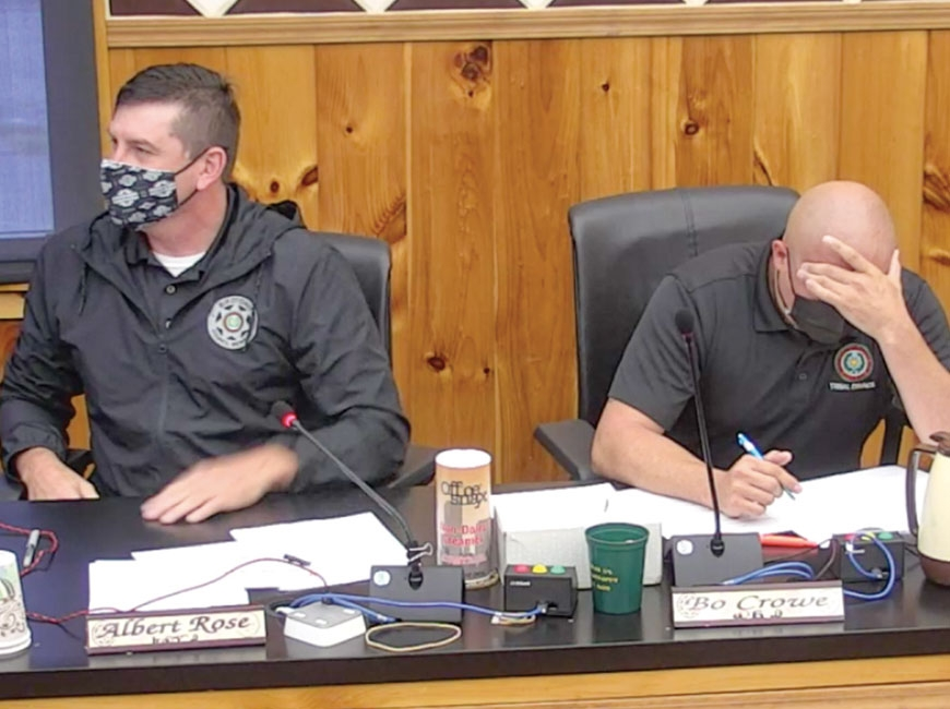 Birdtown Representative Albert Rose (left) addresses TCGE members during an Oct. 26        Tribal Council meeting. EBCI image