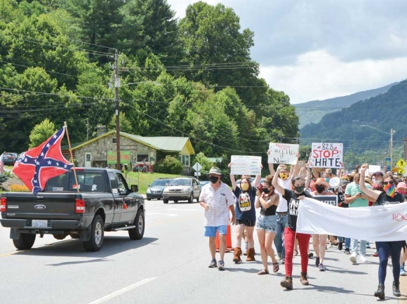 The Black Lives Matter march in Maggie Valley. (photo: Garret K. Woodward)