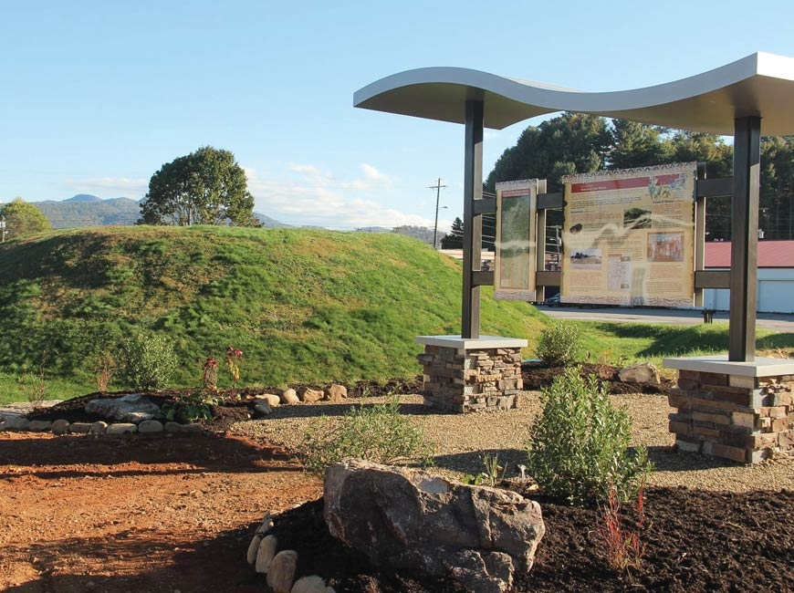 An educational kiosk was recently installed at Nikwasi Mound in Franklin. Donated photo