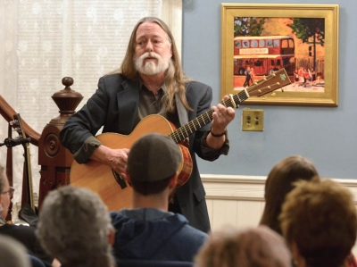 Scott Ainslie performing on March 17 at the Boone-Withers House in Waynesville. Garret K. Woodward photo