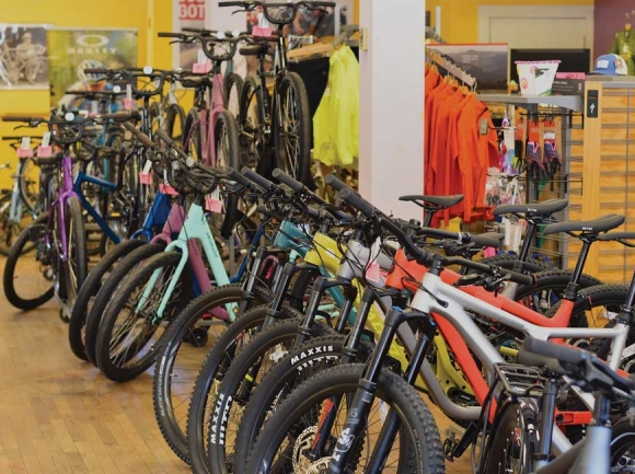 The Motion Makers Bicycle Shop showroom in Sylva.