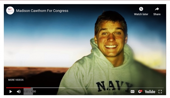 "A campaign video says Cawthorn ""planned on serving his country in the Navy with a nomination to the U.S. Naval Academy in Annapolis. But all that changed in the spring of 2014 when tragedy struck."""