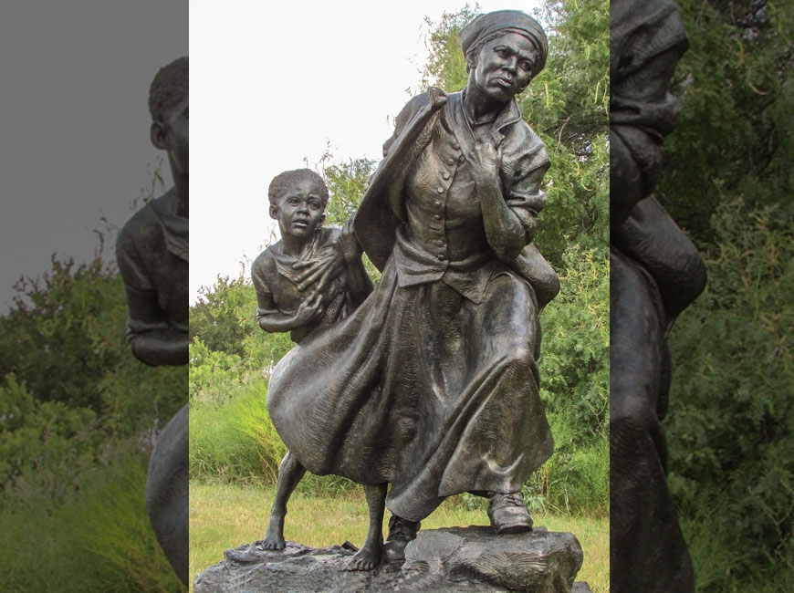 This 2,400-pound bronze cast by Cashiers artist Wesley Wofford shows Harriet Tubman leading a slave girl to freedom.  Wofford Sculpture Studio LLC photo