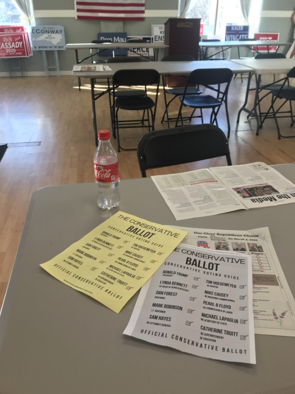 "A pair of ""official conservative ballots"" sit on a table at the Haywood County Republican Party Headquarters in Waynesville on Feb. 14."