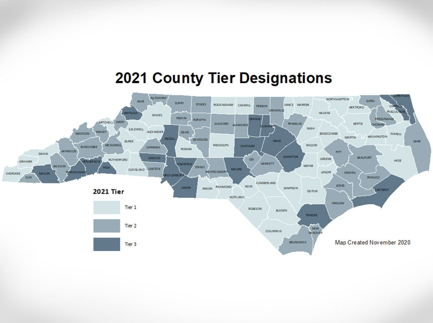 The 2021 County Development Tiers map shows persistent poverty—and prosperity—in the usual regions. NCDOC map.