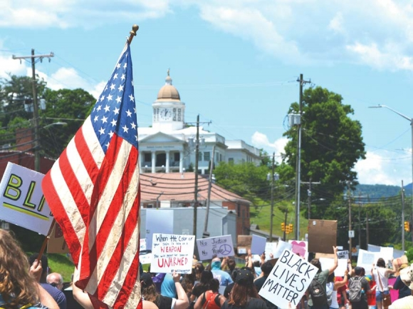 Around 400 people took to the streets of Sylva (population 2,724) to protest systemic injustice on June 13. Cory Vaillancourt photo