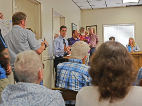 Community members crowd Sylva Town Hall Aug. 6 for a public meeting on the road project. Holly Kays photo