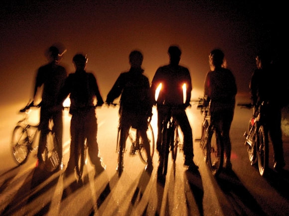 Relay for Clean Air cyclists gather at Waterrock Knob on the Blue Ridge Parkway at midnight for the August 2005 race. Donated photo