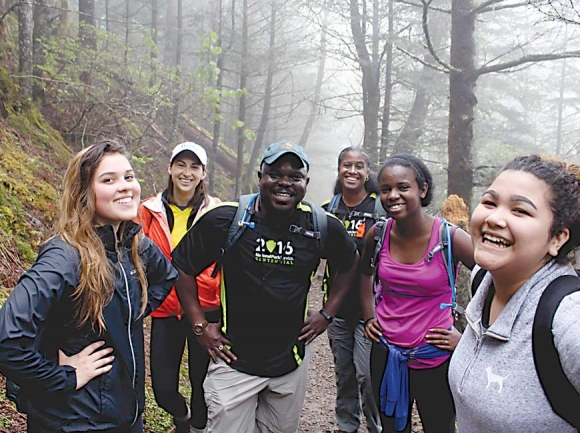 Superintendent Cassius Cash poses with a group of participants in his 2016 Smokies Centennial Hike 100 Challenge. NPS photo