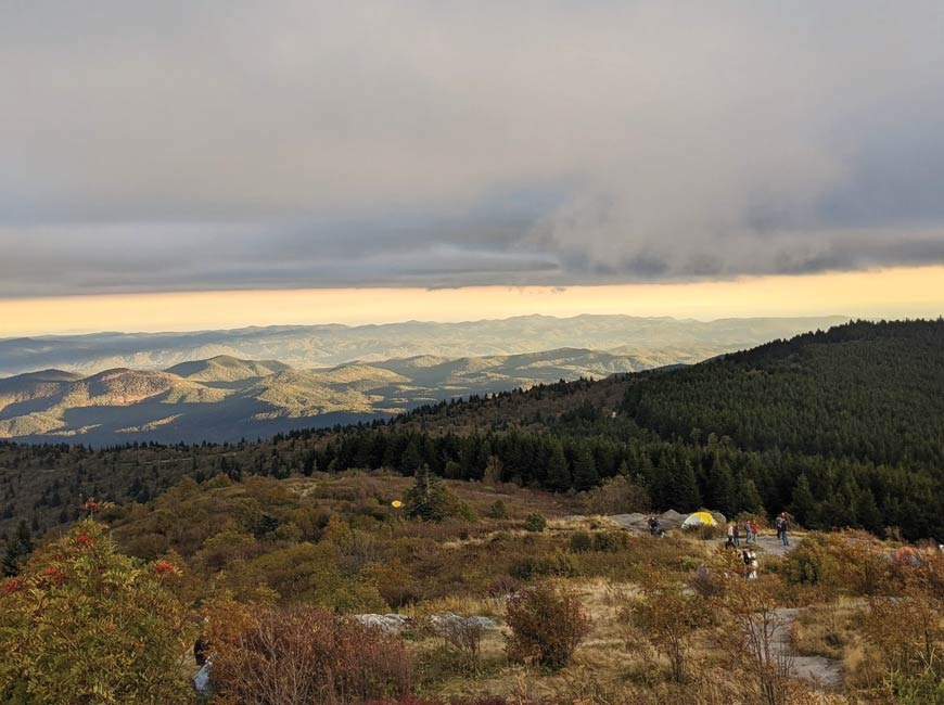 Visitation has surged at Black Balsam in recent years, with the trail full of backpackers and retreating day hikers as sunset approached Saturday, Oct. 3. Holly Kays photo