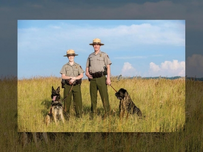 Liz Hall, Travis Hall and their two dogs. NPS photo